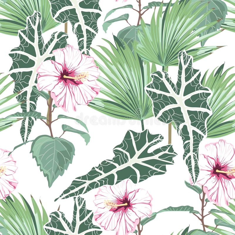 Seamless pattern with tropical leaves and paradise pink hibiscus flowers. royalty free illustration