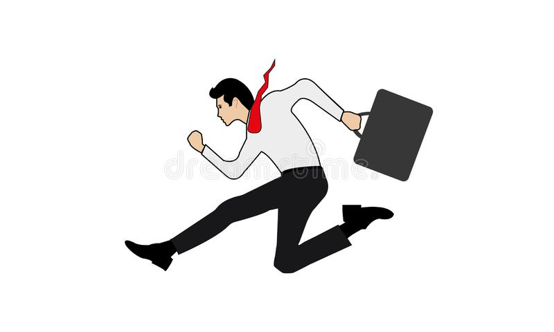 Business Man cartoon running forward abstract vector illustration character. Business man Successfully running up, overcoming, jumping over difficulties and royalty free illustration