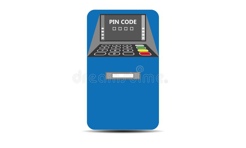 Bank ATM - Automated Teller Machine. Bank atm machine for money withdraw and credit card usage . Flat design of ATM machine with hand. Inserting credit card to royalty free illustration