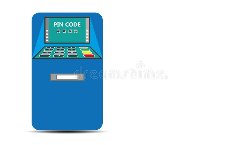 Bank ATM - Automated Teller Machine. Bank atm machine for money withdraw and credit card usage . Flat design of ATM machine with hand. Inserting credit card to vector illustration