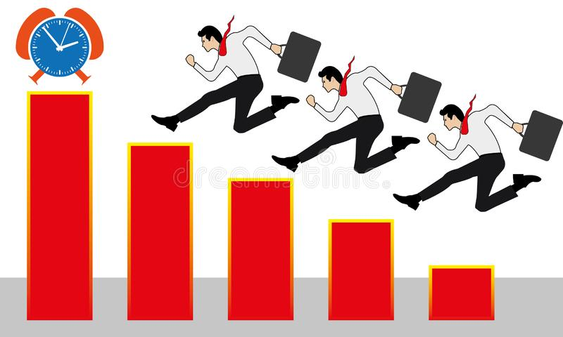 Many Business People Successfully Running on a Ladder to the Chart Up. Business People Successfully running on a ladder to the chart up, overcoming, jumping over royalty free illustration