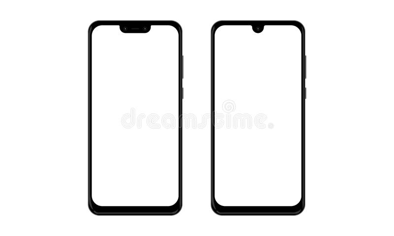 Huawei Nova 3 and Huawei Y Max Android Mobile Phone Touch Screen Devices Realistic Mock-up. Illustration of Huawei Nova 3 and Huawei Y Max android touch screen vector illustration