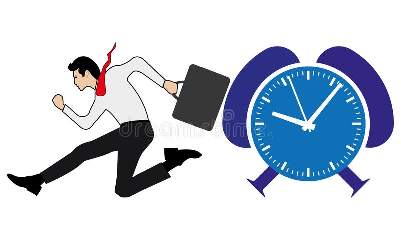 Business Man Running And A Blue Time Clock. A man is running before the time and late comer concept, businessperson is running fast for the duty,nvector eps stock illustration
