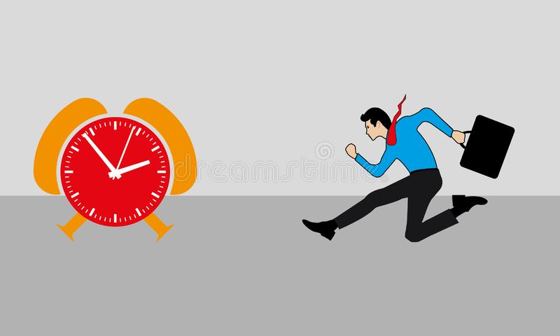 Business Man Running And An Orange & Red Time Clock. A man is running before the time and late comer concept, businessperson is running fast for the duty,nvector vector illustration