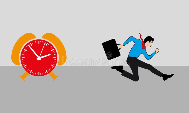 Business Man Running And An Orange & Red Time Clock. A man is running before the time and late comer concept, businessperson is running fast for the duty,nvector royalty free illustration