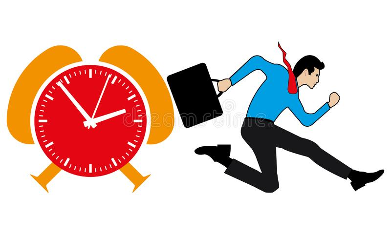 Business Man Running And An Orange & Red Time Clock. A man is running before the time and late comer concept, businessperson is running fast for the duty,nvector stock illustration