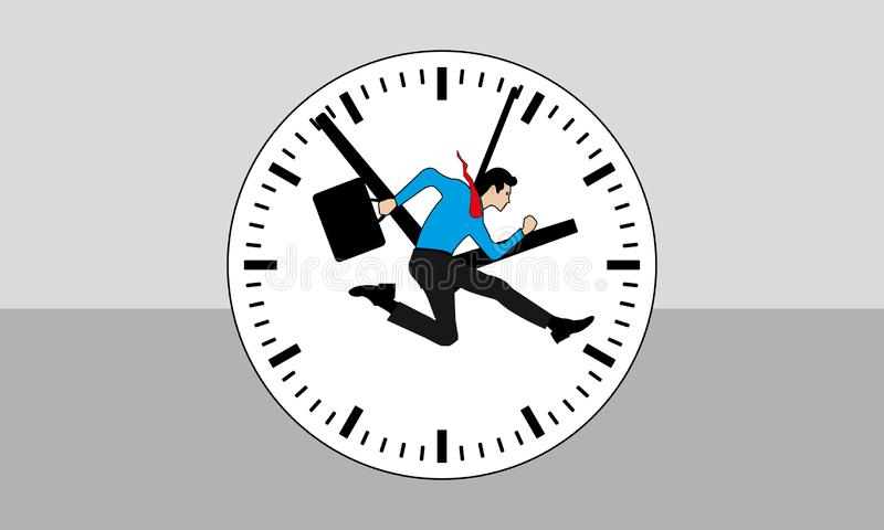 Business Man Running And An Orange & Red Time Clock. A man is running and late comer concept, businessperson is running fast for the duty,nvector eps royalty free illustration