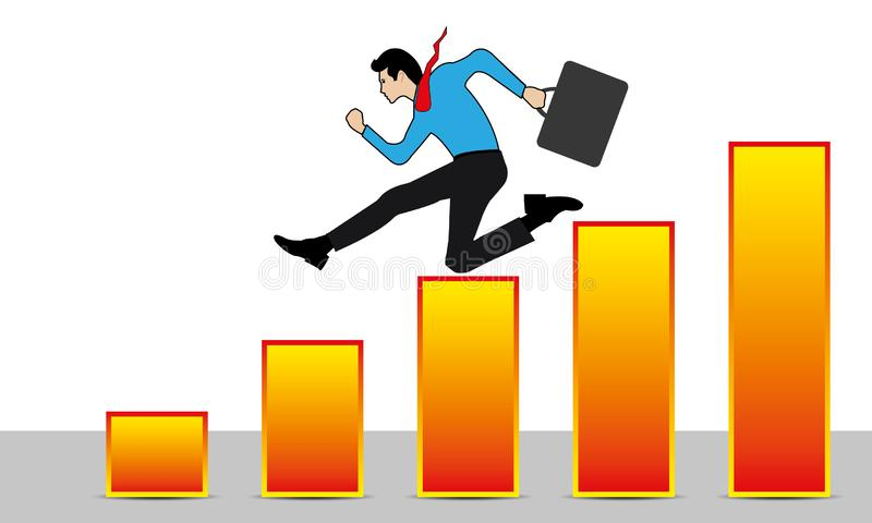 Business Man Unsuccessfully Running on a Ladder to the Chart Down. Overcoming, jumping over difficulties and obstacles stock illustration