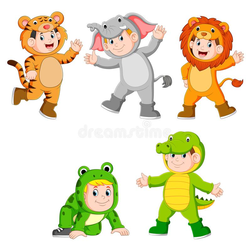 Collection children wearing cute wild animal costumes. Illustration of collection children wearing cute wild animal costumes stock illustration