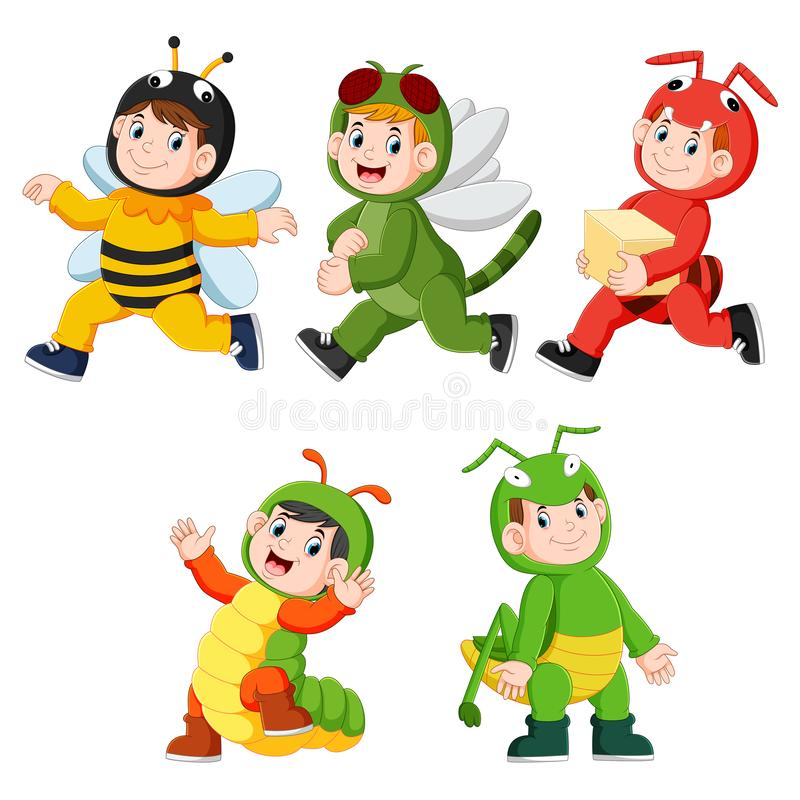 Collection of children wearing cute insect animal costumes. Illustration of collection of children wearing cute insect animal costumes stock illustration