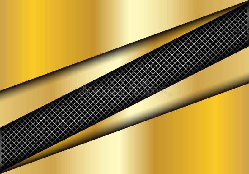 Abstract metal square mesh slash in gold plate overlap design modern luxury futuristic background vector. Illustration vector illustration