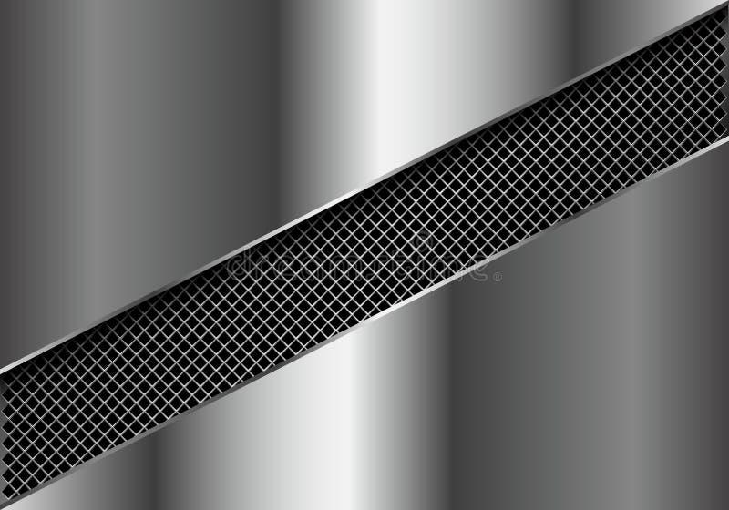 Abstract metal square mesh slash in silver plate design modern luxury futuristic background vector. Illustration stock illustration