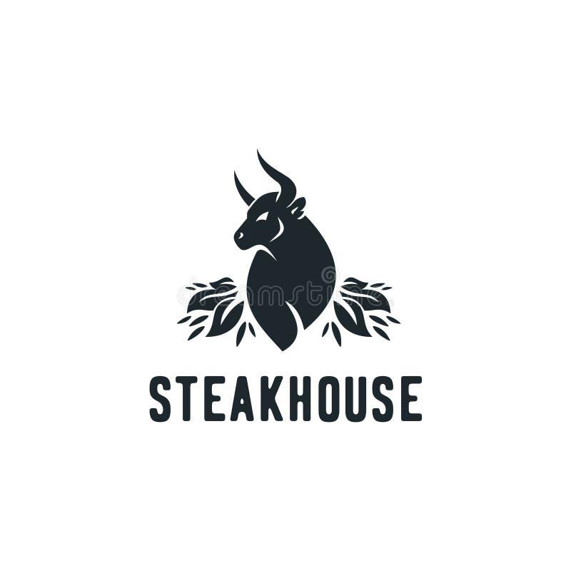 Vintage Cattle. Steak House / Beef logo design inspiration. Grill Restaurant emblem stock illustration