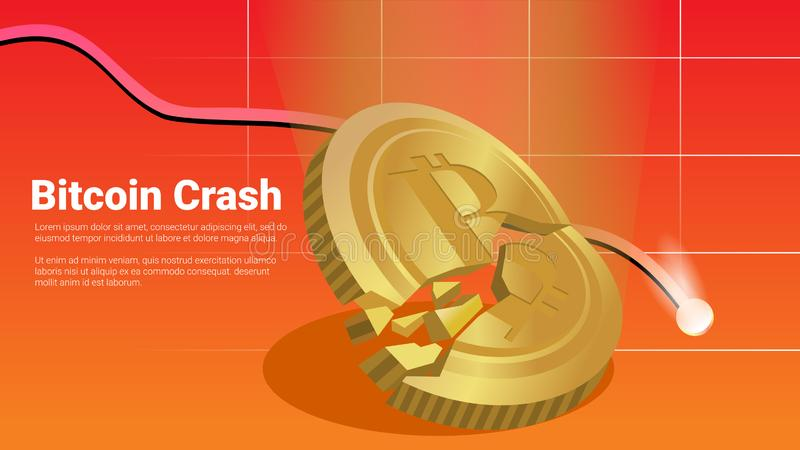Block chain criptocurrency market crisis bitcoin falling appart and crash tragedy concept with decline graphic red background vect. Vector art is created using stock illustration