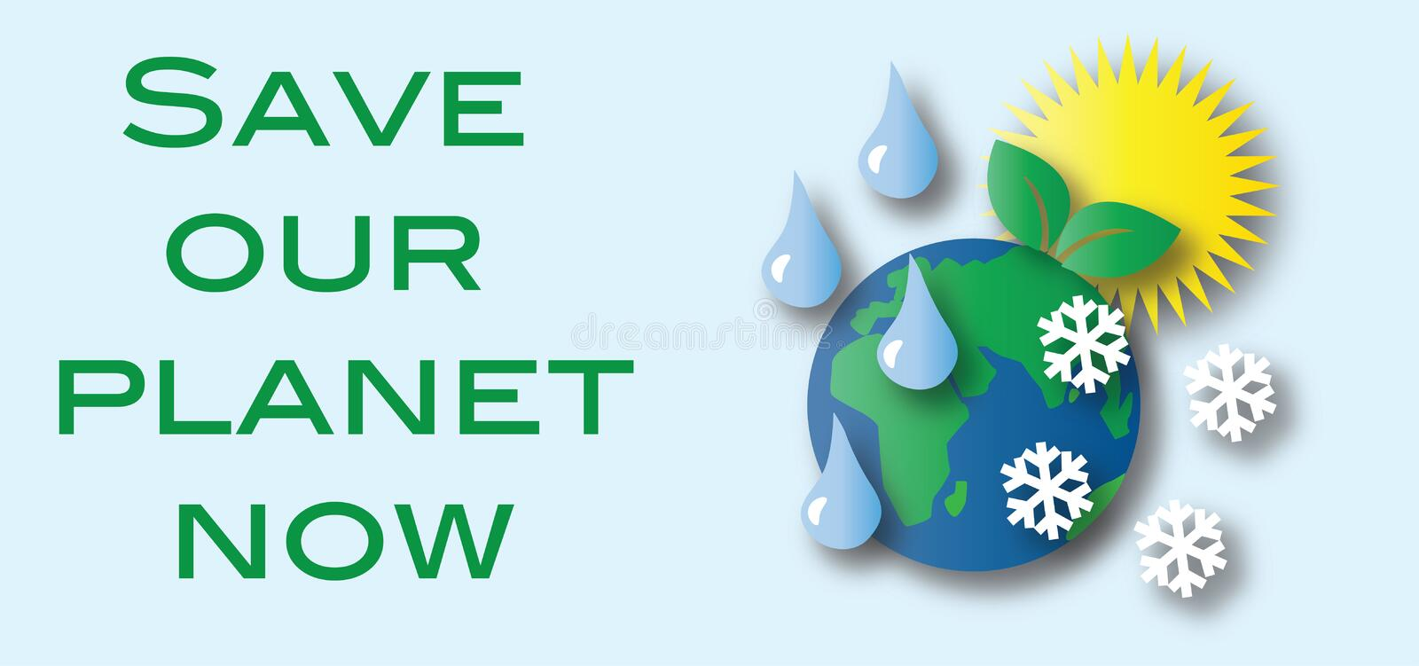 Save Our Planet Extreme Climate Environment Stock Vector