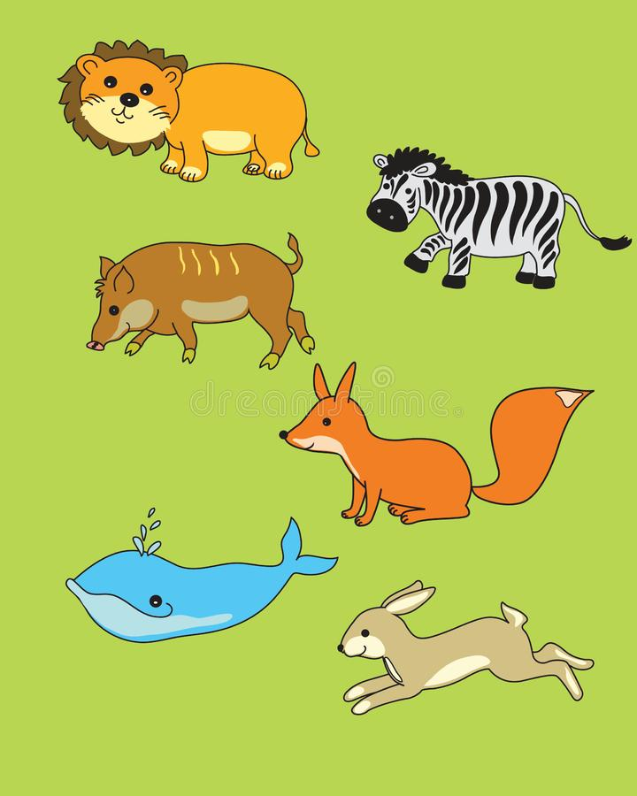 Funny animals with smiles in children`s style for the design of children`s books. Kawaii royalty free illustration