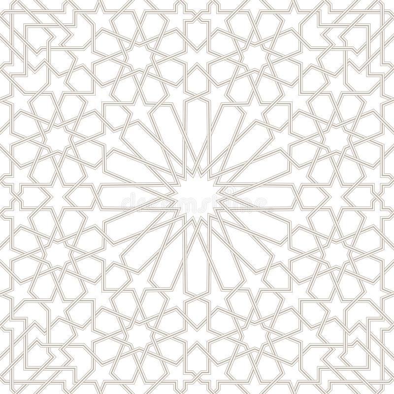 Morocco Seamless Light grey Pattern, Traditional Arabic Islamic wallpaper stock illustration