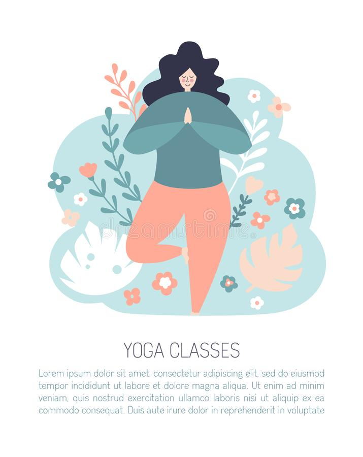Modern flat vector card design of a meditating woman in the tree position. royalty free illustration