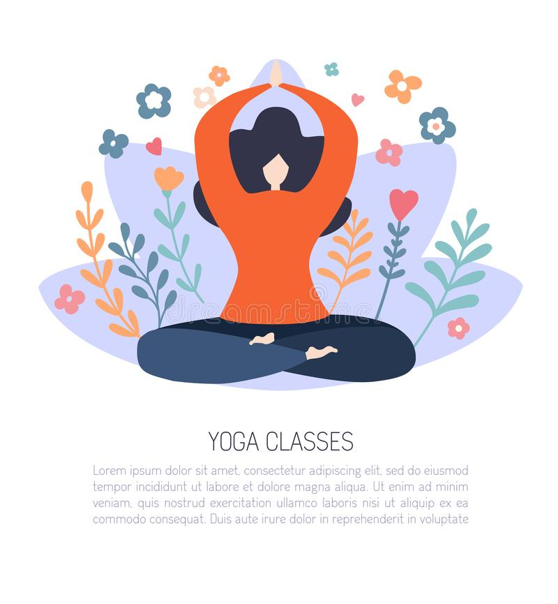 Modern flat vector card design of a meditating woman in the Lotus pose. stock illustration