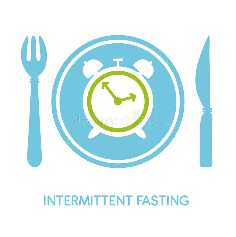 Intermittent Fasting. Vector illustration of a plate with a fork, a knife, a clock and place for your text. Modern flat card, poster, banner, leaflet design on royalty free illustration