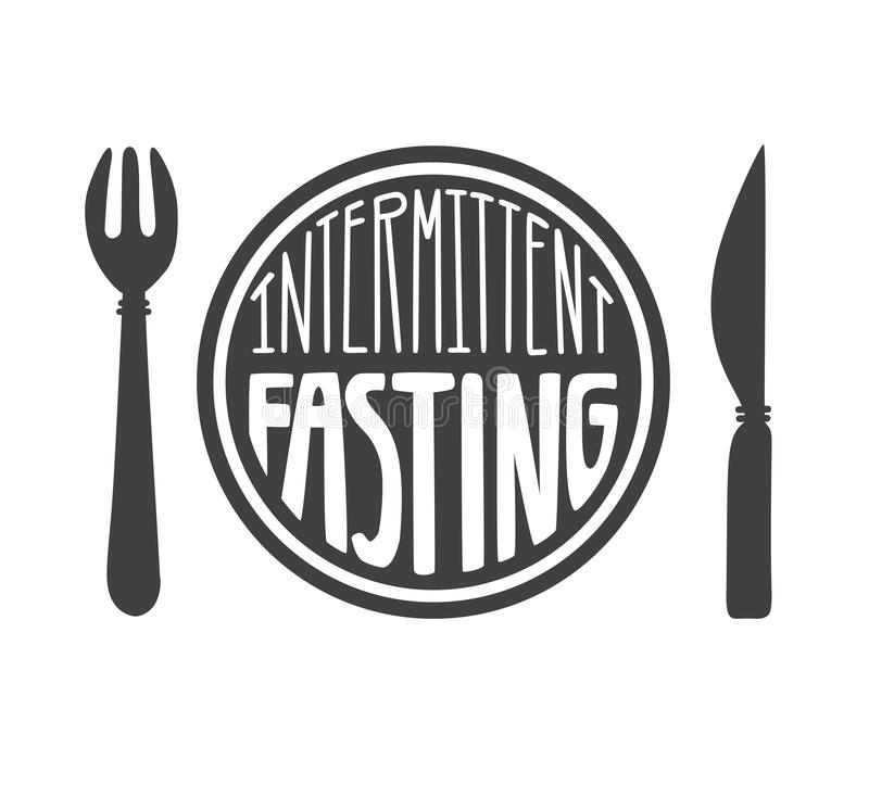 Intermittent Fasting. Vector illustration of a plate with a fork and a knife and hand lettering. Moder flat motivational card, poster, banner, leaflet design vector illustration