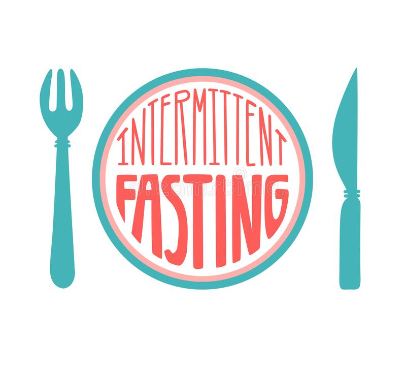 Intermittent Fasting. Hand drawn lettering illustration of a plate with a fork and a knife in blue and pink colors. Modern flat motivational design on healthy stock illustration