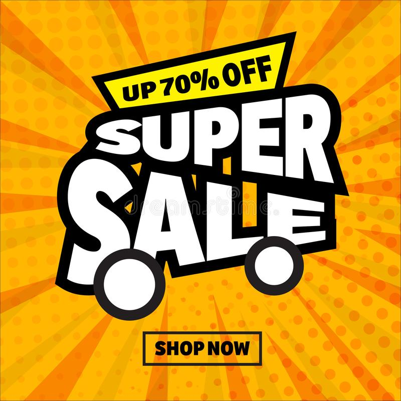 Sale banner template comic style stock illustration