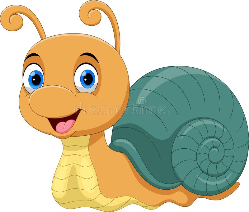 Illustration of Cute Snail cartoon smiles. On white background royalty free illustration