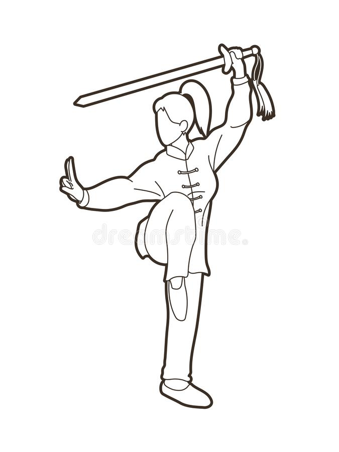 Woman with sword action, Kung Fu pose graphic stock illustration
