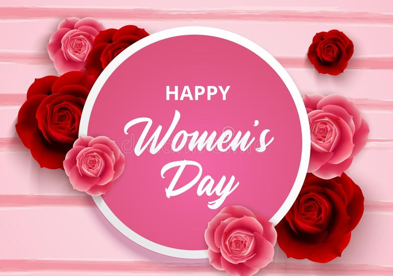 8 March International Women`s Day with roses flowers and circle frame stock illustration