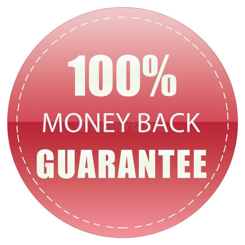 100% MONEY BACK GUARANTEE LABEL RED COLOR ILLUSTRATION. DESIGN FOR YOU stock illustration