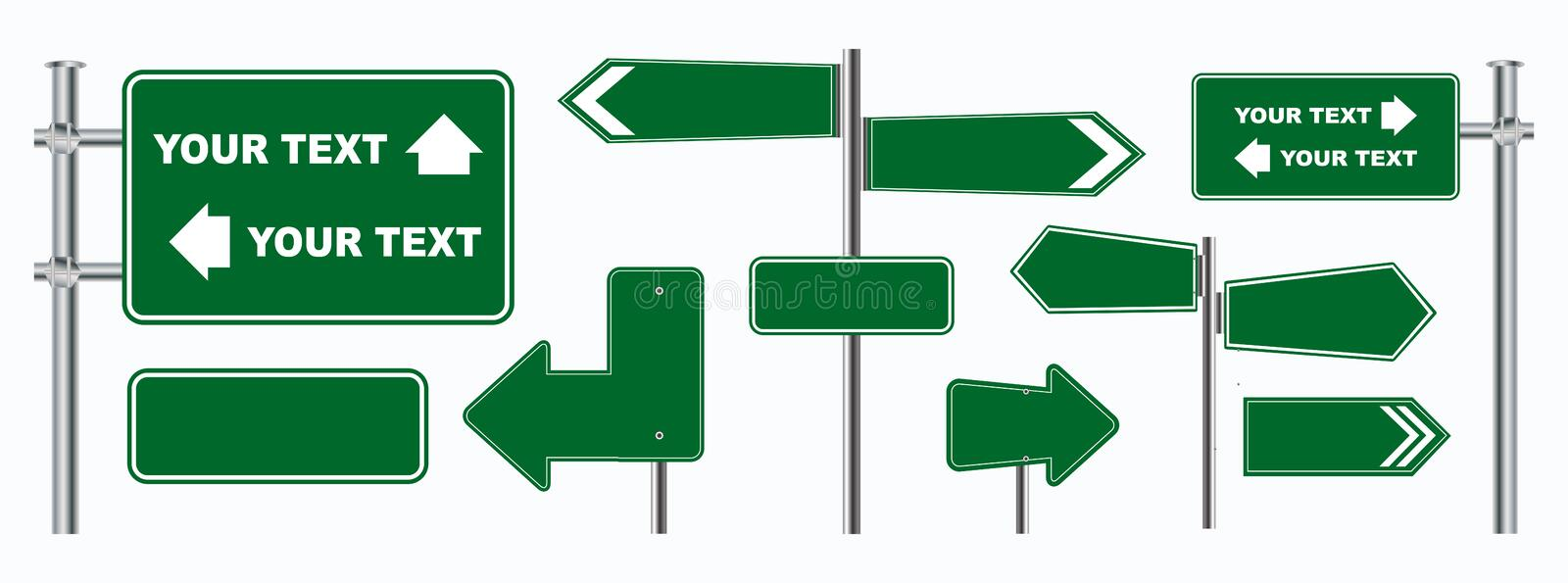 Set of green road signs isolated, for brochure, flyer, cover book and other printing design. vector illustration