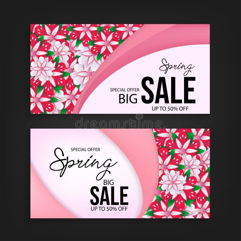 Special offer spring sale banner background vector royalty free illustration