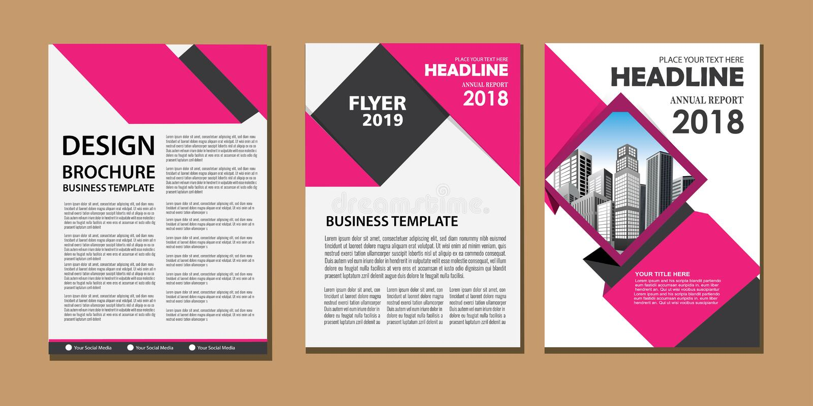 Business abstract vector template. Brochure design, cover modern layout, annual report, poster, flyer in A4 with colorful triangle stock illustration