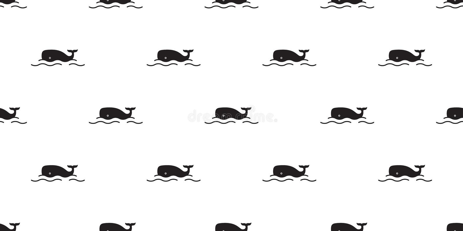 Fish whale Seamless pattern vector shark dolphin salmon scarf isolated ocean sea cartoon repeat wallpaper tile background doodle i. Llustration cute vector illustration