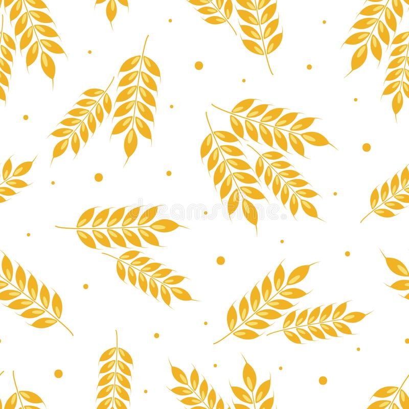 Vector seamless ears of wheat pattern with dots. vector illustration