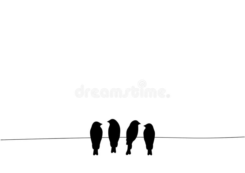 Birds On Wire, Wall Decals, Four Birds on Wire Illustration Design, Birds Silhouette Isolated on white background royalty free illustration