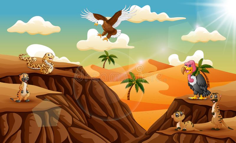 Cartoon animal in the desert background stock illustration