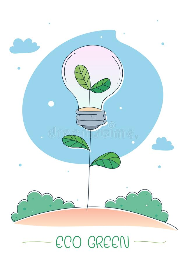 Eco Green energy concept. Little tree growing out of inside a lightbulb. Vector illustration royalty free illustration