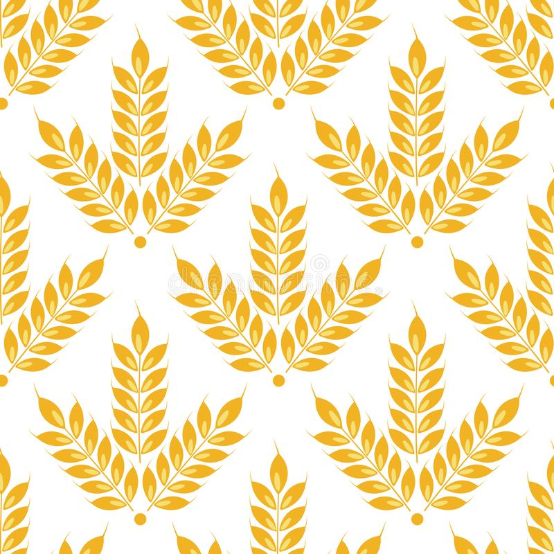 Vector seamless ears of wheat pattern. Isolated on white. stock illustration