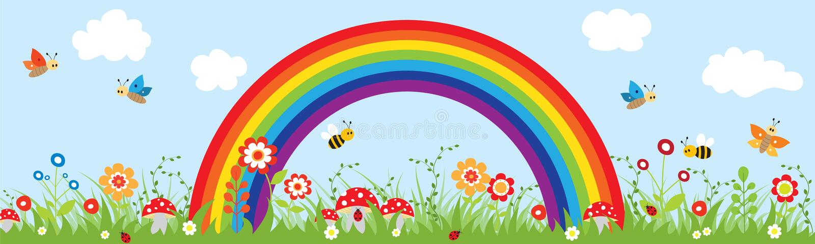 Beautiful sky with a rainbow and nature. vector illustration