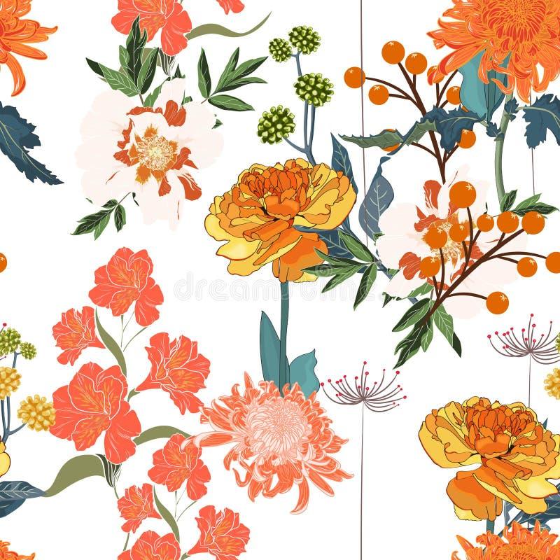 Spring orange blossom floral seamless pattern. Vintage background. Wallpaper stock illustration