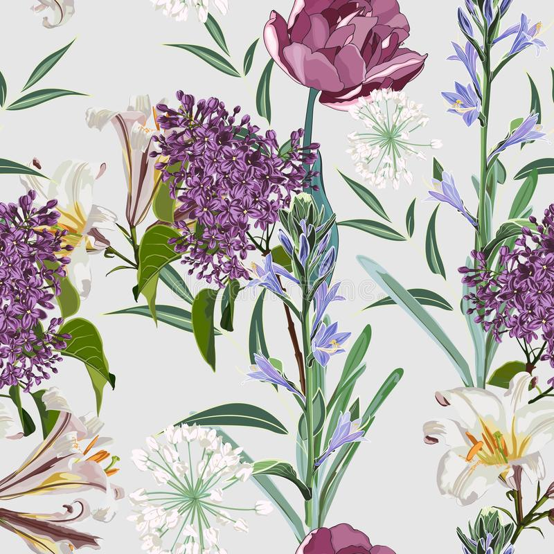 Spring blossom floral seamless pattern. Vintage background. Wallpaper. Blooming realistic isolated vector illustration