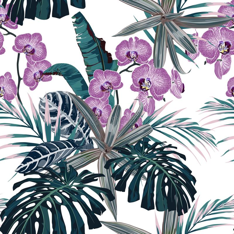 Amazing tropical pink orchid flowers pattern. Seamless design with botanical elements, palm monstera leaves. royalty free illustration