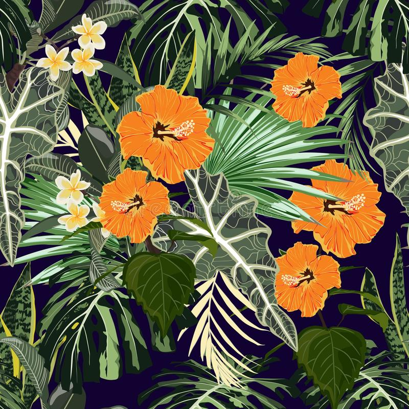 Summer colorful Hawaiian seamless pattern with tropical plants, palms leaves and orange hibiscus. Plumeria flowers. Black background vector illustration