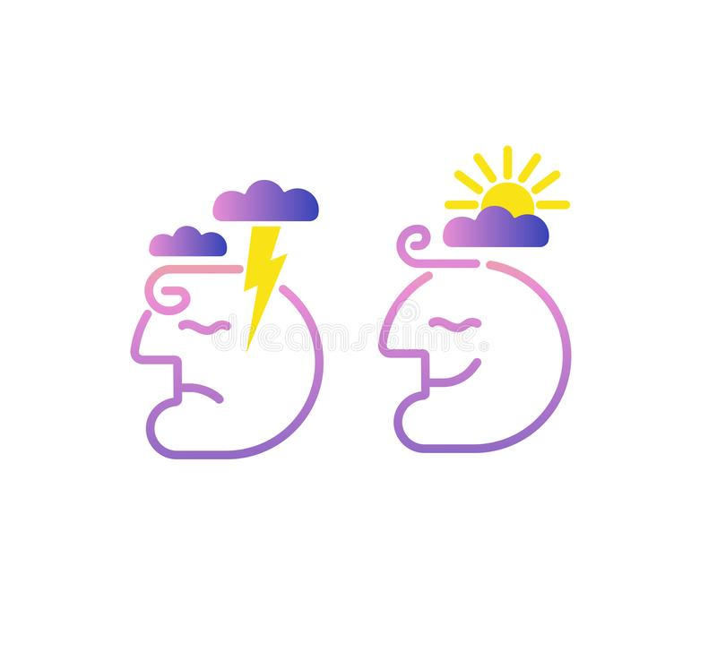 Mind brain creative concept.Head profile with storm cloud and clear sky. Mindfulness and stress management in psychology,vector lo royalty free illustration