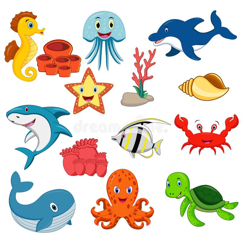 Sea animals vector set. Illustration of Sea animals cartoon set stock illustration