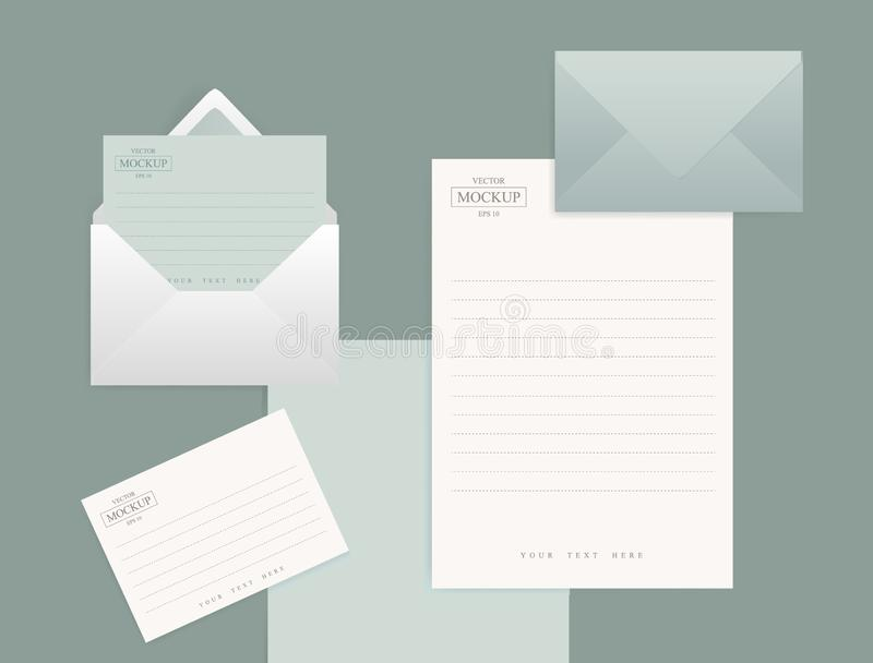 Set of realistic envelopes with a sheet of paper royalty free illustration