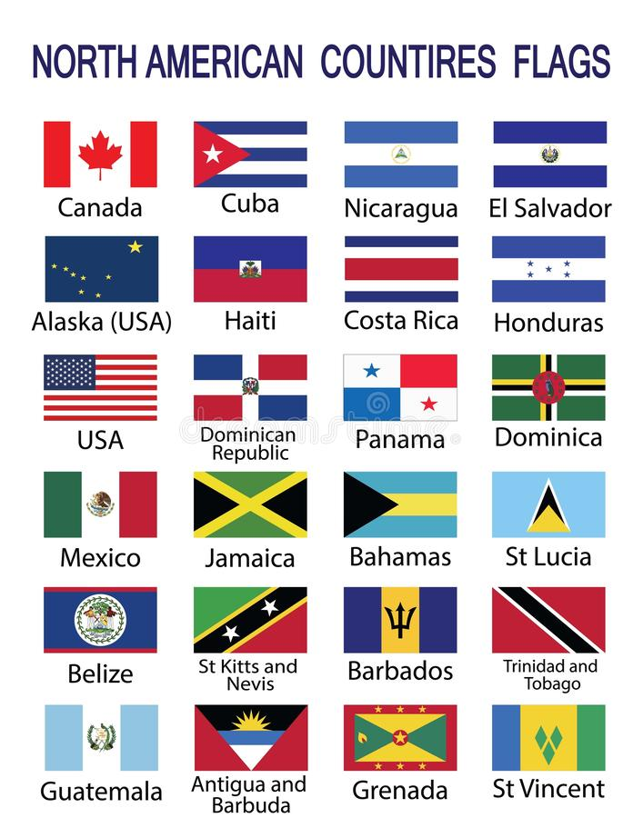 North American Countries Flags vector illustration