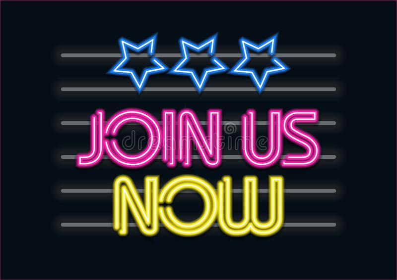 Join Us Now neon effect stock illustration